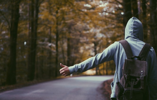 Yep, this is me hitchhiking for the very first time. I traveled with my good mates, maybe one day we'll repeat it!